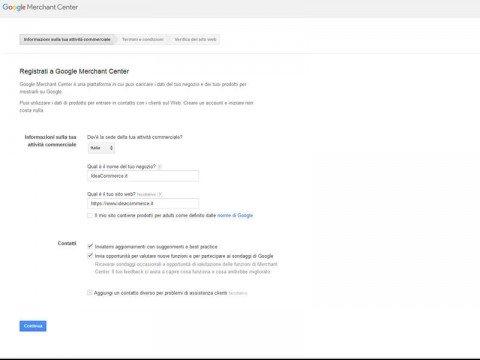 Procedura di Registrazione nel Google Merchant Center - Step 1
