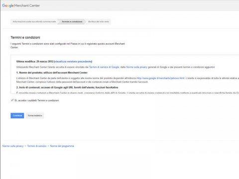 Procedura di Registrazione al Google Merchant Center - Step 2