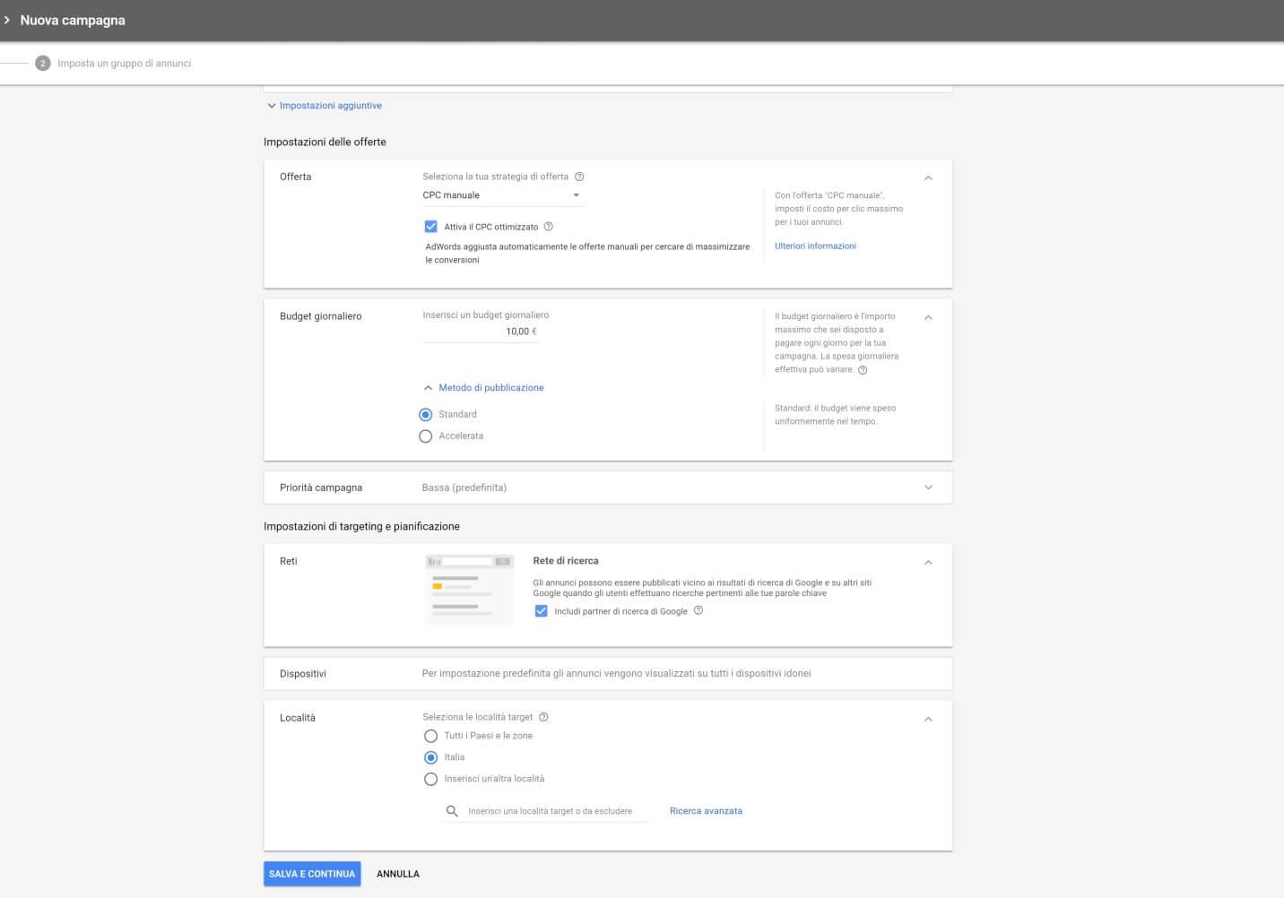 Adwords Creazione Campagna Google Shopping