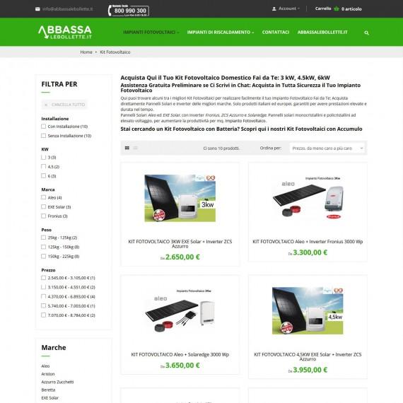 Realizzazione ecommerce vendita online kit fotovoltaici e batterie di accumulo