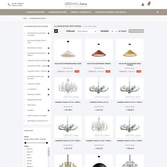 Ecommerce vendita online lampadari moderni e lampadari classici
