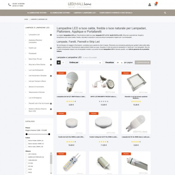 Ecommerce vendita online lampadine led