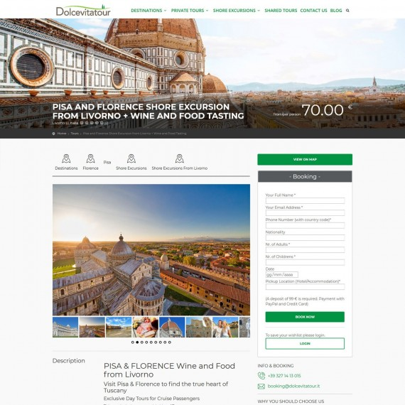 Landing page per vendita tour in toscana su dolcevitatour.it